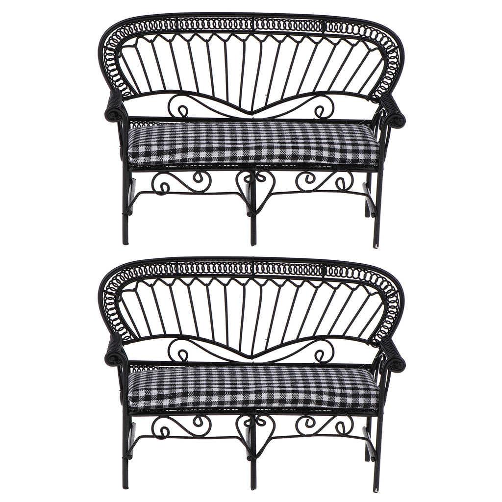 2Pcs 1/12 인형 집 미니어처 가구 거실 정원 빈티지 철 더블 의자 더블 좌석 소파 모델