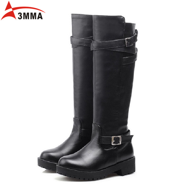 ФОТО 3MMA Fashion Equestrian Riding Boots Flat Women Knee High Boots 2016 Winter Black Motorcycle Boots Women Cold Autumn Long Bottes