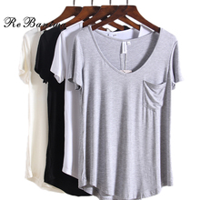 Europe Plus Size V-neck Short Sleeves T-shirts New Fashion Summer T Shirts Causal Loose 4XL Tee Pocket Decorative Tops 4 Colors