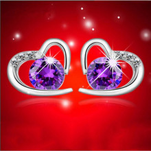 Simple 925 Silver Fashion Jewelry Micro-inlaid Zircon Crystal Heart-shaped Love Temperament Female Earrings  SE207