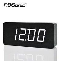 FiBiSonic Sound Control Wooden Alarm Clock With Temperature Big Numbers Wood LED Clocks Electronic Desktop Clock