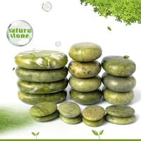 new 19pcs/set green jade body massage hot stone SPA with canvas CE and ROHS 7pcs(5x6)+4pcs(6x8)+8