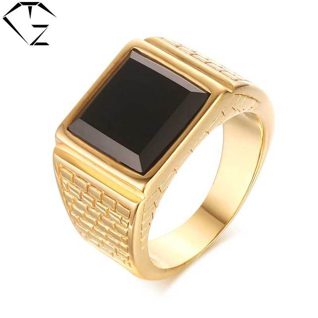 316L Stainless Steel Ring Yellow Gold Color New Fashion Trendy