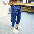 2016 spring new style girl jeans kids denim calf-length harem pants children fashion trousers for 2-7 years