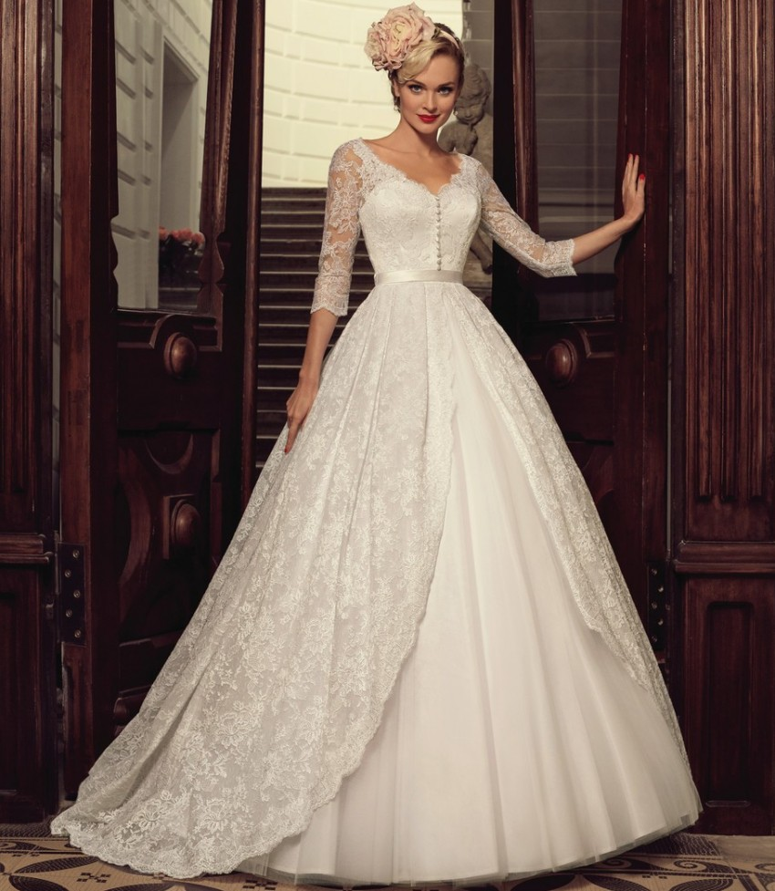 Cheap 3 4 Sleeve Wedding Dresses: Cheap A Line V Neck 3/4 Sleeves Lace Wedding Dresses