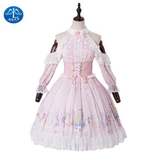 15a2b8dcaf Casual Lolita Blouse Skirt Cosplay Steampunk Dress Jacket Amore Print Skirt  Pink Maid Costume Medieval(