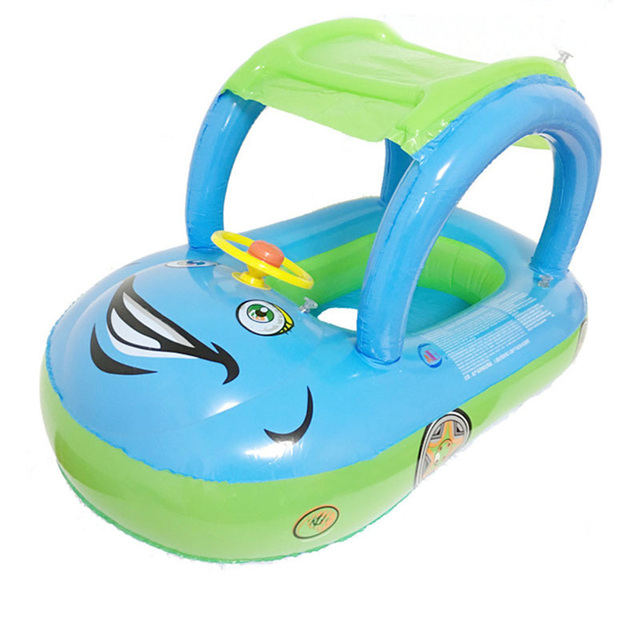 Inflatable Children Float Seat Boat Baby Swimming Ring With Awning Car Seat Steering wheel Water Sport Toy Swim Pool Accessories