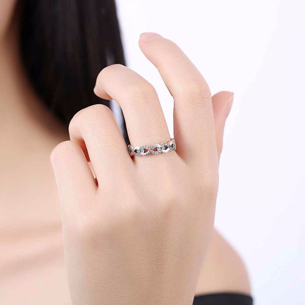 Solid 925 Sterling Silver Ring Infinite Love 8 Shape Cubic Zirconia ...