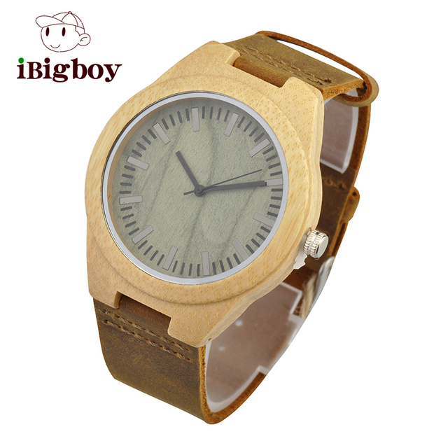 Fashion Brown Lover's Wood Quartz Watch Genuine Leather Band New Arrival Handmade Wooden Wristwatch for Men Women Creative Gift