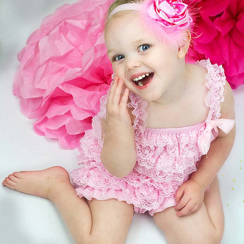 4760d032ed3 Cute Baby Pink Lace Rompers Infant Girls Petti Ruffled Romper with Strap Ribbon  Bow and Flower