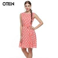 OTEN 2017 D'été Femmes Sans Manches Casual Polka Dot Imprimé tunique pin up rose Beach party robes midi Plissée en mousseline de soie robe