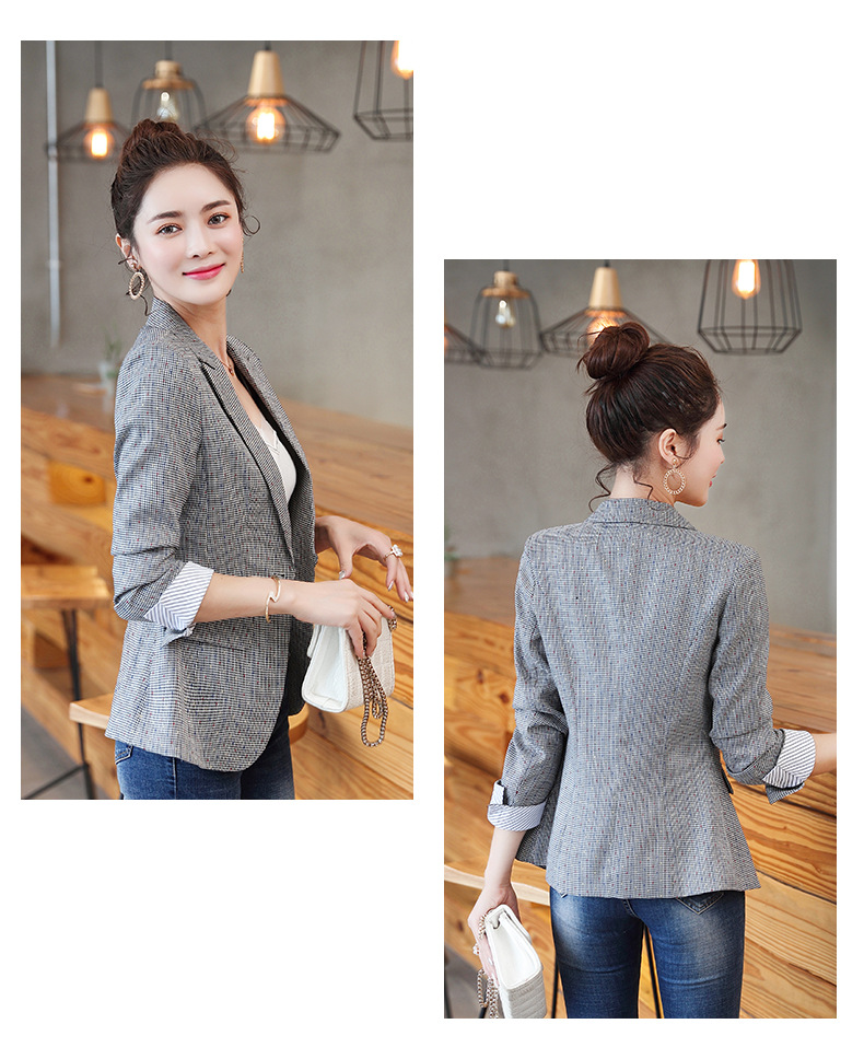 2019 Korean Spring Autumn New Chic Office Lady Casual Houndstooth Plaid Blazer Jacket Gray  Plus Size