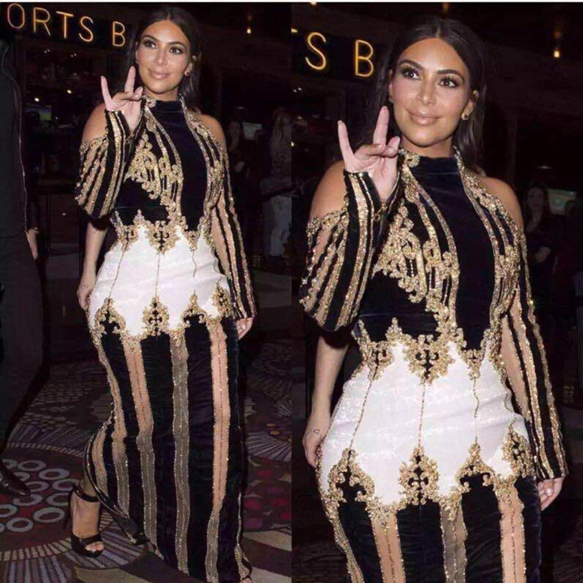 2017 célébrité luxueux perlé Long Design Sexy hors de l'épaule robe Kim Kadashian robe de piste