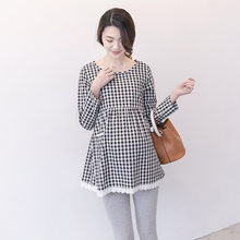 0222bb1cd4f 2018 New Autumn Comfortable Women Pregnancy Clothes Maternity Fashion  Casual Plaid Dress Clothes For Pregnant Women
