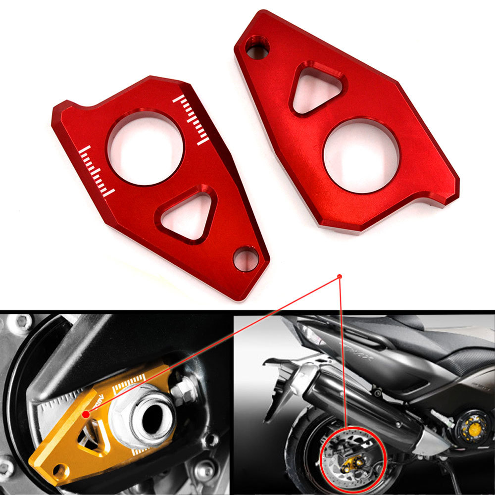 Red Motorcycle CNC Rear Axle Spindle Chain Adjuster Blocks Fit for Yamaha T-MAX 530 500 FZ8 FZ1 YZF R1 t max