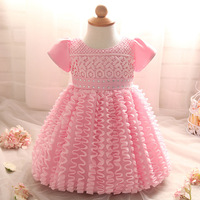 Fashion Design Newborn Dress for Baby 3 6 9 12 18 24 Months Beaded Girls White Tutu Princess Dress for Infants Party Dress 2M02A