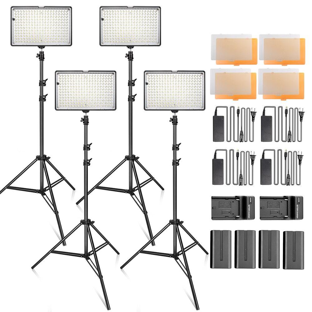 Travor 240 LED Video Light Kit studio photography lighting 3200K 5500K Video Light Panel with 4pcs battery 4 tripod carry bag