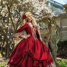 Принцесса средневековая фантазия Бальные платья Викторианский Хэллоуин маскарад платье выпускного вечера бальное платье королева Пышное красное милое 16 платье