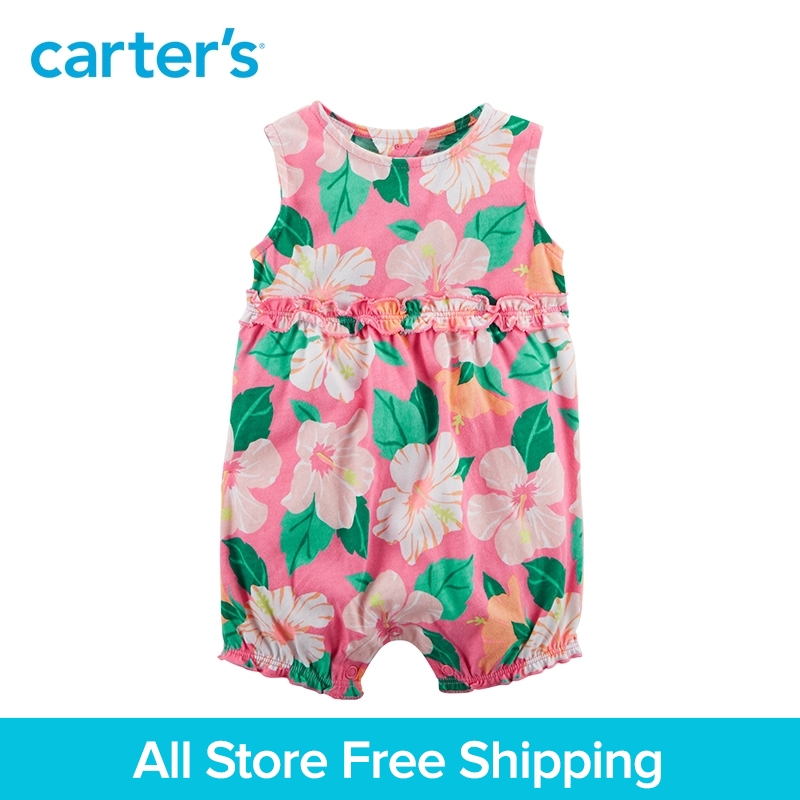 Carters 1-Piece baby children kids clothing Girl Summer Sleeveless Floral Cotton Romper 118H977