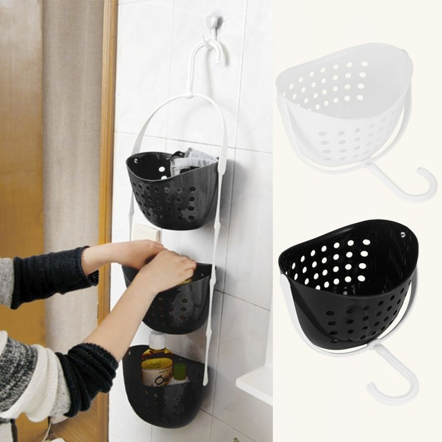 3 Tier Shower Bathroom Rack Plastic Hanging Over Basket Tidy Kitchen Organiser Holder