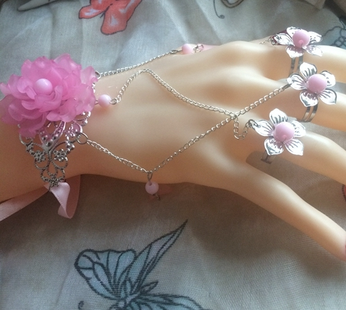 New pink sexy beaded rhinestone flowers princess girl gloves dancing party performance lady chain bracelet gloves free shipping
