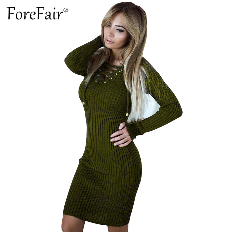 Forefair Casual Knitted Sweater Dress Women Lace-up V Neck Long Sleeve Slim Bodycon Dresses Pullover Female 2018 Spring Dress forefair fashion slim knitted party dresses women clothing 2018 spring long sleeve sexy criss cross v neck bodycon dress vestido