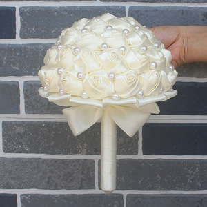 Image 5 - WifeLai A Pure Color Ivory Bridal Wedding Bouquet Cream Satin Rose Artificial Flowers Wedding Bouquet de novia On Sale W322 2