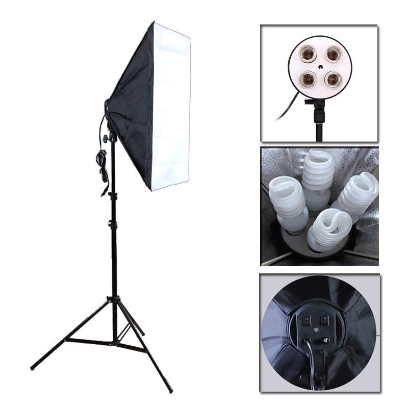 Photo Studio Softbox Kit  Four Socket Lamp Holder + 50*70CM Flash Lighting Softbox +2m Light Stand Photo Soft Box