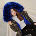 2016 women's army green Camouflage Large Blue fur collar hooded coat parkas outwear winter jacket high quality plus size