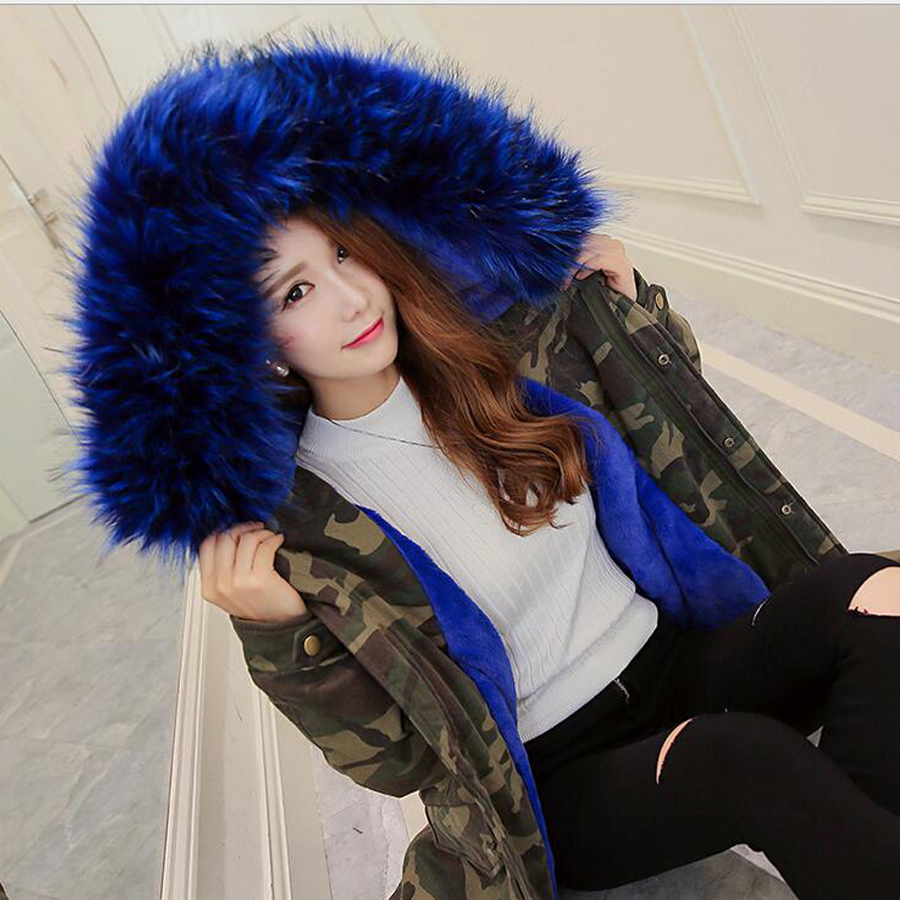 2017 Winter coat woman army green Camouflage Large Blue fur collar ...