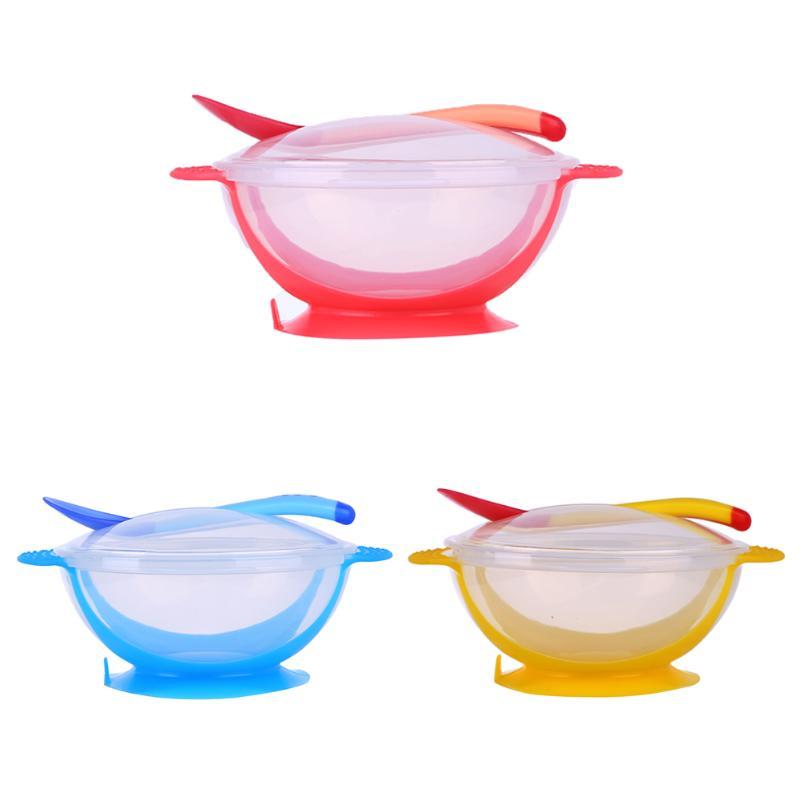 Cute    Baby Cutlery Sets Drop Resistance Temperature Sensing Spoon Sucker Bowl Baby Solid Feeding Dinnerware Feeding Set