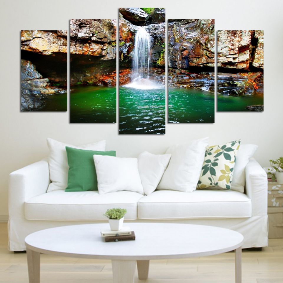 5 Panel Waterfall Painting Canvas Wall Art Picture Home Decoration ...