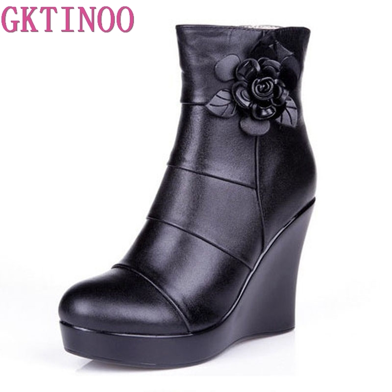 GKTINOO 2019 Genuine Leather Autumn Winter Boots Shoes Women Ankle Boots Female Wedges Boots Women Boot