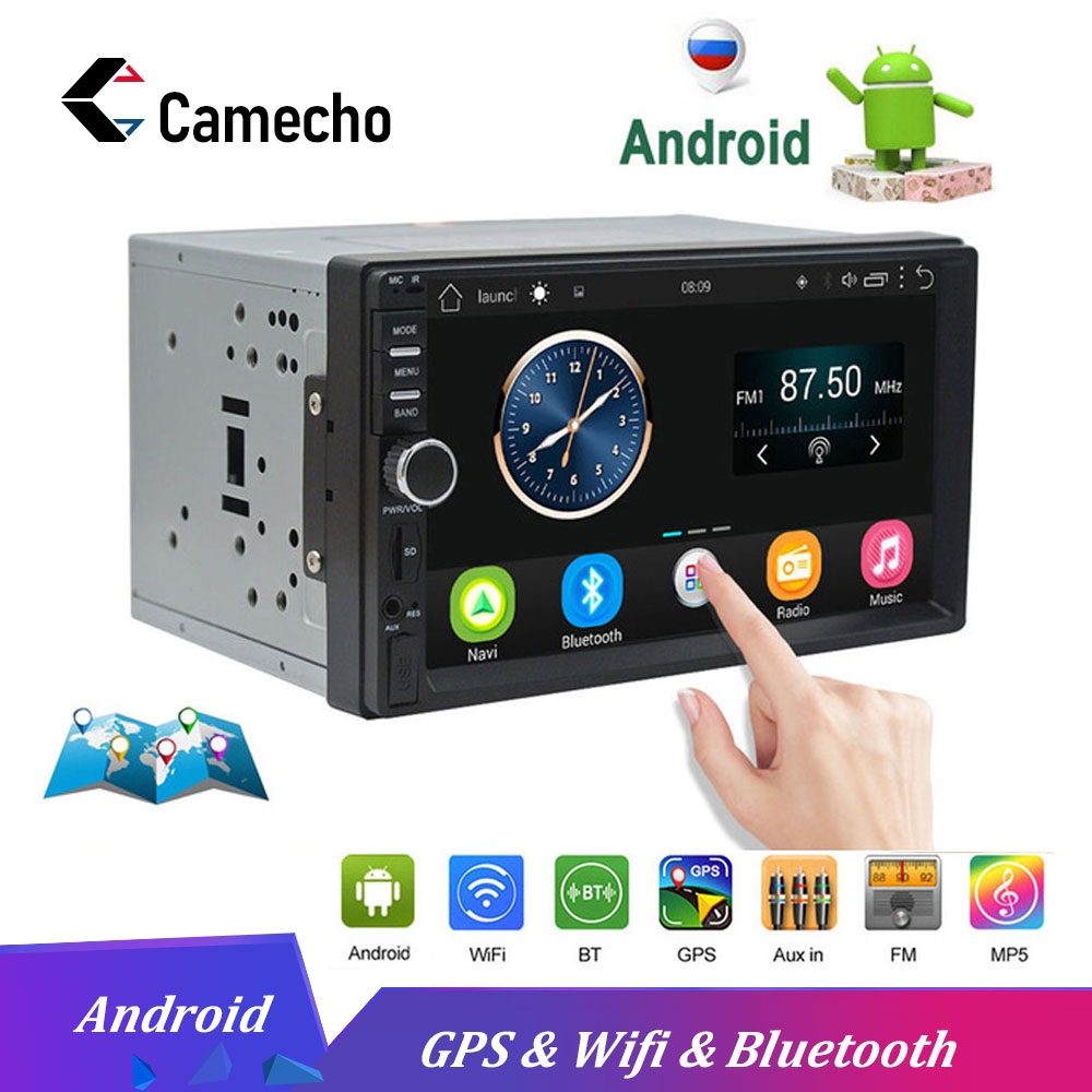 Camecho 2 Din Car Radios Android GPS Navigation 7 Touch Screen Car Multimedia Player Audio Radio