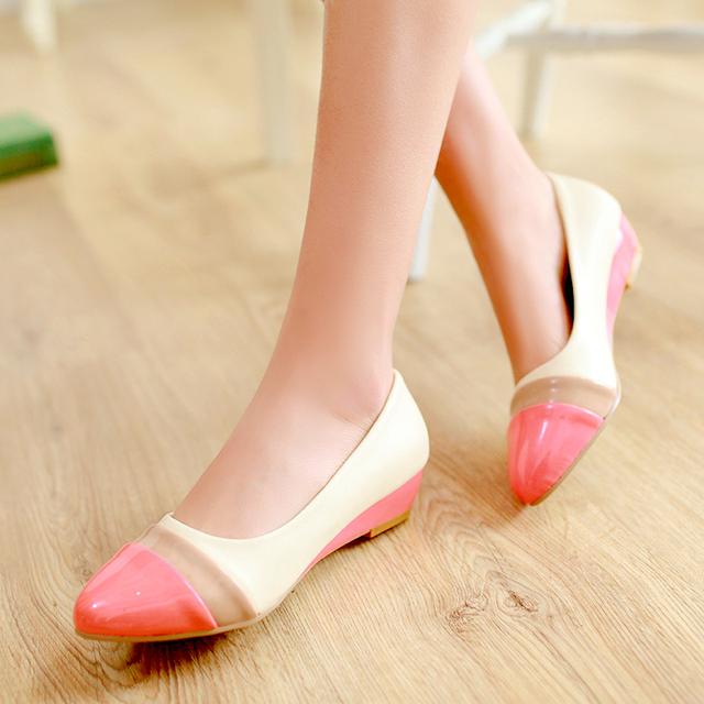 Vermelho amarelo senhoras sapatos de verão cunhas dedo do pé redondo salto baixo mulher bombas plataforma couro PU mulheres sapatos de casamento tamanho 34 - 43