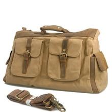 Travel Bag Fashion Journey Duffel Men And Women Vintage Leather XL Size Bag Waterproof Canvas Travel Bag
