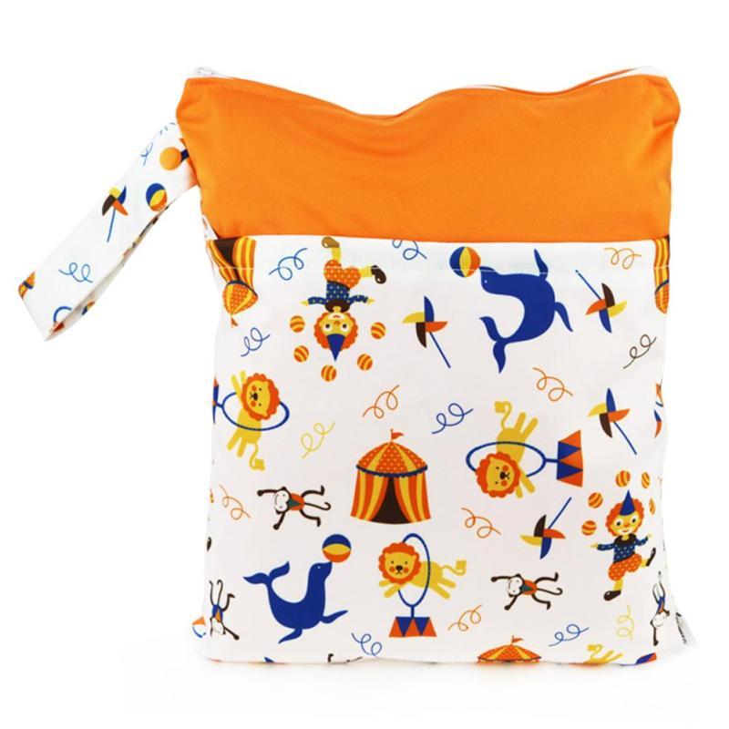 30*36 cm Waterproof Reusable Zipper Baby Cloth Diaper Nursing Pads Stroller Hanging Bag Small Wet bag Pouch 3