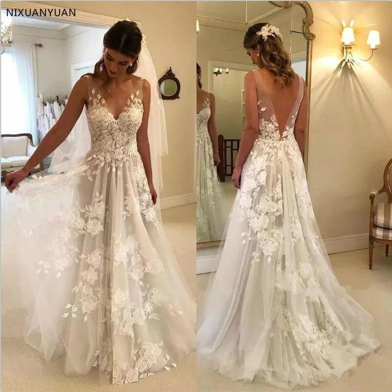 Beach Vestido De Noiva 2020 Wedding Dresses A-line V-neck Tulle Lace Backless Dubai Arabic Boho Wedding Gown Bridal Dresses