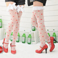 NEW Anti Slip Sexy White Silk Stockings Print RED Heart With Lace BOW S030