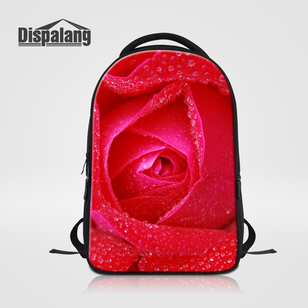Dispalang Rose Flower Printing Bagpack For High School Women Outdoors Travel Rucksack Ladies Daily Back Pack