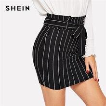 SHEIN 黒と白 Paperbag 付きピンストライプボディコンスカート女性の夏のカジュアル作業服オフィス鉛筆スカート