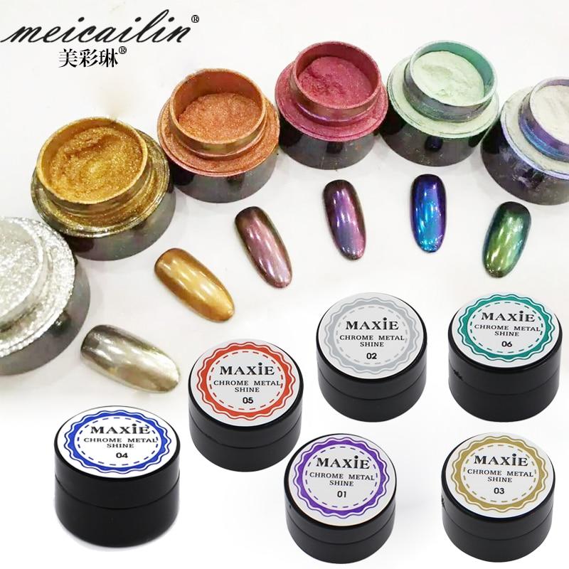 2016 New 6 Color Nail Glitter Powder Shinning Mirror Eye Shadow Makeup Powder 5g Dust Nail Art DIY Chrome Pigment Nails Glitters