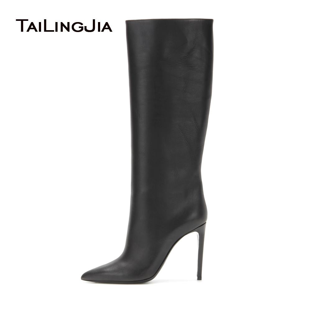 Women Black High Heel Knee High Boots Ladies Pointed Toe Slip on Long Boots Stiletto Winter Shoes 2017 Big Size Wholesale muffin wedge high heel stretch women extreme fetish casual knee peep toe platform summer black slip on creepers boots shoes