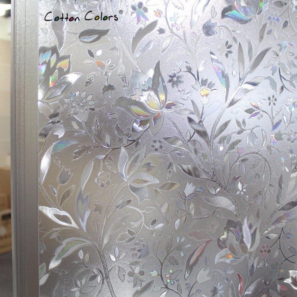 cottoncolors спальня ванная комната пвх оконные пленки без клея статические 3d цветок украшения конфиденциальности оконное стекло стикер размер 60 х 200 см