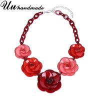 Vintage Acrylic Red Flower Pendant Necklace Choker Kolye Harajuku Fashion Jewelry Colar Necklaces Pendants Chocker Women Collier