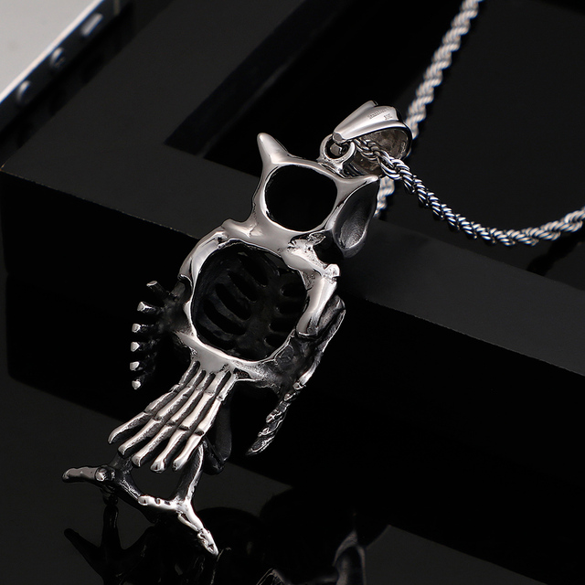 STAINLESS STEEL OWL HEAD & SKULL BODY NECKLACE