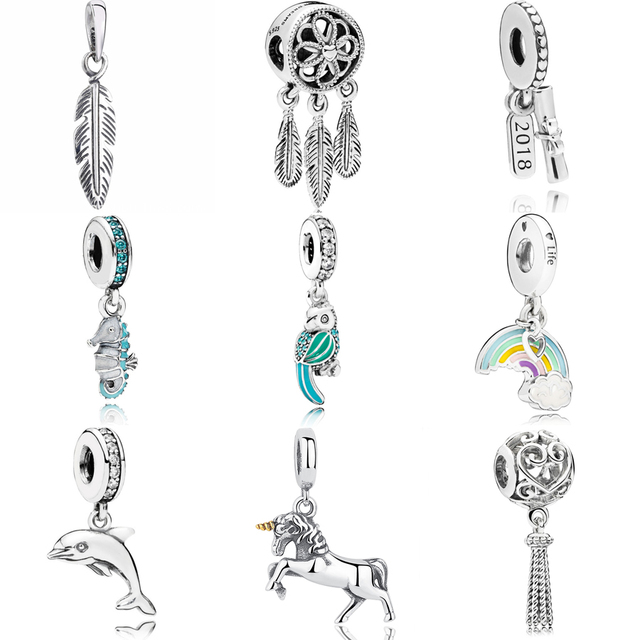 75060ecb5 2018 NEW 925 Silver Graduation Scroll Hanging Charm Spiritual Feather  Pendant necklace Fit pandora Bracelet Bead DIY Jewelry