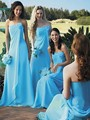 2017 New Arrival Sky Blue Party Dresses Long Chiffon Strapless Pleat Ruffles Vestidos De Festa Mermaid Bridesmaid Dresses