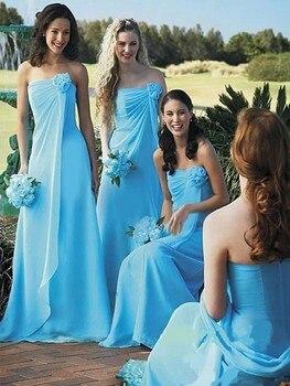 New Arrival Sky Blue Party Dresses Long Chiffon Strapless Pleat Ruffles Vestidos De Festa Mermaid Bridesmaid Dresses