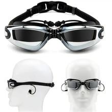 Очки для плавания для близорукости, затычки для ушей, профессиональные, взрослые, силиконовые плавающие кепки, очки для бассейна, анти-туман, для мужчин и женщин, оптические, водонепроницаемые очки